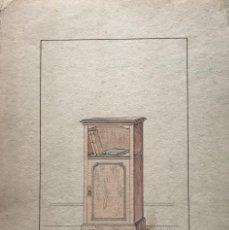 Arte: GRABADO MUEBLE ANTIGUO. SELLO TALLER DE EBANISTERÍA Y TAPICERÍA R. LLIMÓS J. VALVERDE 22X31,5 CM. Lote 151055594