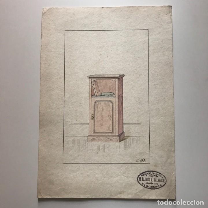 Grabado mueble antiguo. Sello taller de ebanistería y tapicería R. Llimós J. Valverde 22x31,5 cm - 151055594