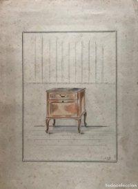 Grabado mueble antiguo. Sello taller de ebanistería y tapicería R. Llimós J. Valverde 24,3x32,2 cm