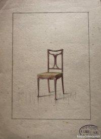 Grabado mueble antiguo. Sello taller de ebanistería y tapicería R. Llimós J. Valverde. 22,2x29,4 cm