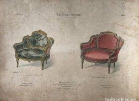 Grabado mueble antiguo. Le Garde-Meuble. Collection de Sieges. 34,3x26,4 cm