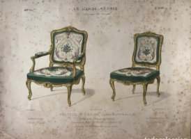 Grabado mueble antiguo. Le Garde-Meuble. Collection de Sieges 34,4x27,4 cm