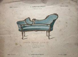 Grabado mueble antiguo. L'Ameublement. Collection Simple 36,4x27,5 cm