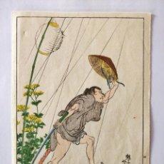 Arte: GRABADO JAPONÉS ORIGINAL DEL MAESTRO KUNIYOSHI, CIRCA 1850, GUERRERO SAMURAI, BUEN ESTADO, RARO. Lote 151065358