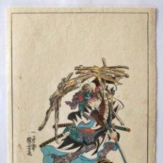 Arte: GRABADO JAPONÉS ORIGINAL DEL MAESTRO KUNIYOSHI, CIRCA 1850, GUERRERO SAMURAI, BUEN ESTADO, RARO. Lote 151065866