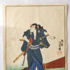 Arte: GRABADO JAPONÉS ORIGINAL DEL MAESTRO KUNIYOSHI, CIRCA 1850, GUERRERO SAMURAI, BUEN ESTADO, RARO. Lote 151065962