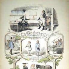 Arte: PRECIOSA AGUAFUERTE ORIGINAL A COLOR DE GEORGE I CRUIKSHANK (1792-1878) CON 5 ESCENAS DIFERENTES . Lote 151071822