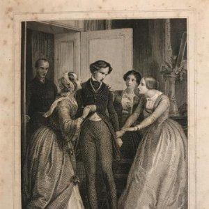 Une fortune mysterieuse. E. Leguay ac. Philippoteaux. Grabado con paspartú biselado de color beige