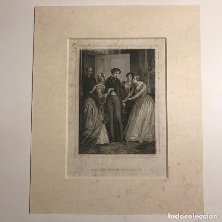 Arte: Une fortune mysterieuse. E. Leguay ac. Philippoteaux. Grabado con paspartú biselado de color beige - Foto 2 - 151364502