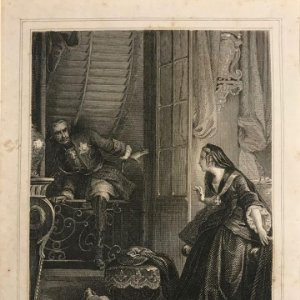 Une chanoinesse de 17 ans. E. Leguay ac. Philippoteaux. Grabado con paspartú biselado de color beige