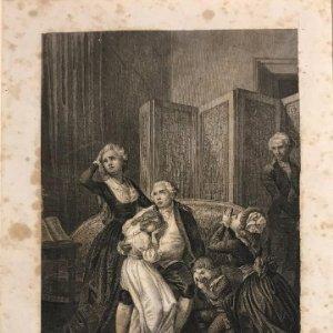 Adieux de Louis XVI a sa famille. E. Leguay Sc. Philippoteaux del. Grabado con paspartú biselado