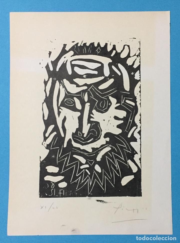 PICASSO - GRABADO LITOGRAFÍA ORIGINAL FIRMADA A MANO - CABEZA DE HOMBRE BARBUDO - 33 X 24 CM. (Arte - Grabados - Contemporáneos siglo XX)