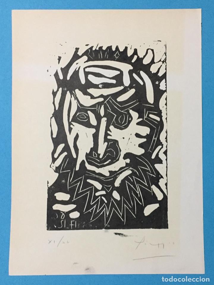 Arte: PICASSO - GRABADO LITOGRAFÍA ORIGINAL FIRMADA A MANO - CABEZA DE HOMBRE BARBUDO - 33 x 24 cm. - Foto 2 - 151463034