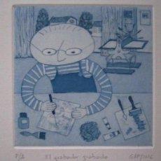 Arte: EL GRABADOR GRABADO - GRABADO DE GAP (GUILLERMO ANTÓN PARDO) - 18 X 23,5 CM. Lote 151525962