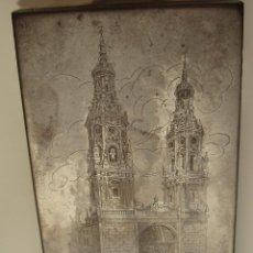 Arte: CONCATEDRAL DE SANTA MARÍA DE LA REDONDA. LOGROÑO, ESPAÑA. METAL. PLANCHA ORIGINAL PARA GRABADO.. Lote 151889298