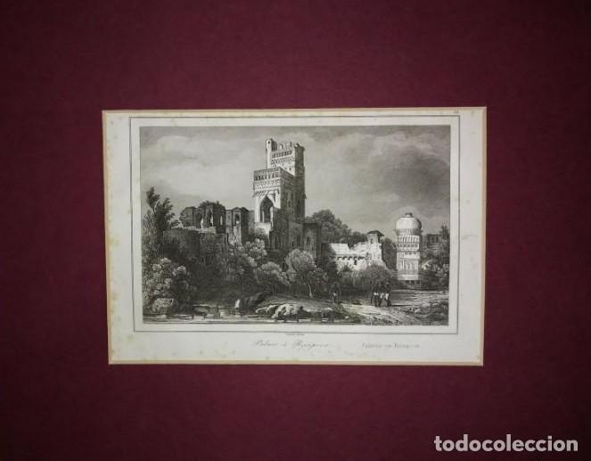 GRABADO INDIA PALACIO DE BAJAPOOR LEMAITRE DIREXIT SIGLO XIX CON PASPARTÚ BISELADO (Arte - Grabados - Modernos siglo XIX)