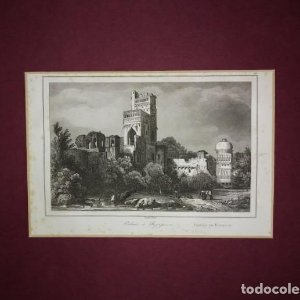Grabado India Palacio de Bajapoor Lemaitre Direxit Siglo XIX con Paspartú biselado