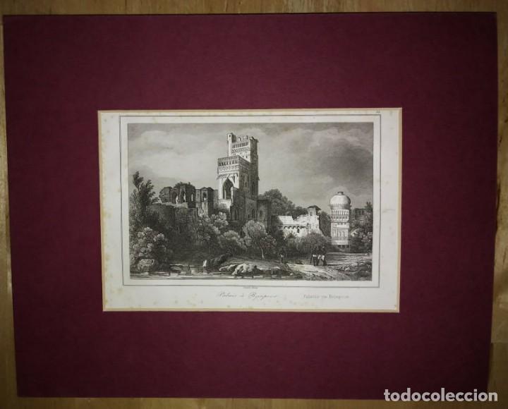 Arte: Grabado India Palacio de Bajapoor Lemaitre Direxit Siglo XIX con Paspartú biselado - Foto 2 - 140516262