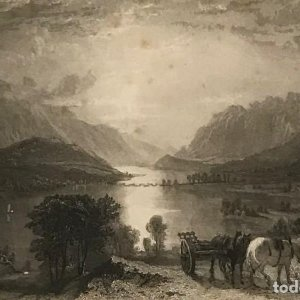 1834 Inglaterra. Thirlmere & Helvellen &c, from Raven crag. Fisher, Son, & Cº London 32,4x26,6 cm