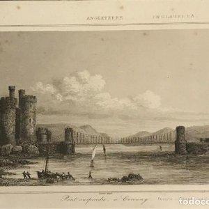 Inglaterra. Puente colgante en Conway. Lemaitre Direxit 24x30 cm