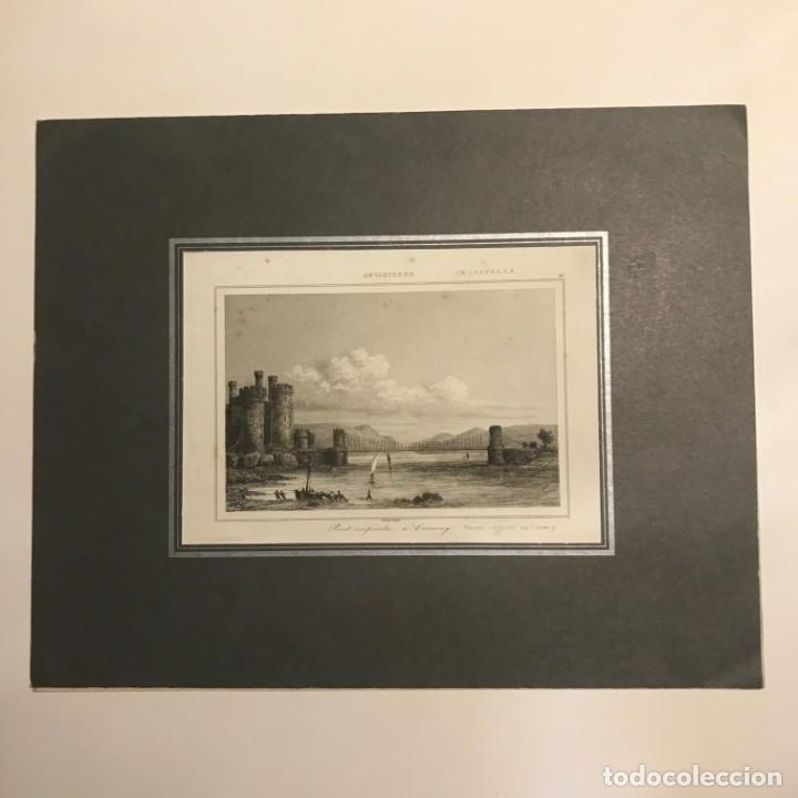 Arte: Inglaterra. Puente colgante en Conway. Grabado por Lemaitre Direxit. s.XIX - Foto 2 - 152250022
