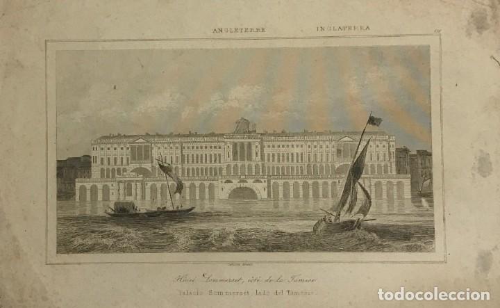 INGLATERRA. PALACIO SOMMERSET, LADO DEL TÁMESIS. LEMAITRE DIREXIT 25X18 CM (Arte - Grabados - Modernos siglo XIX)