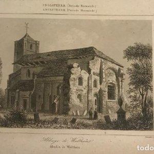 Inglaterra (Periodo Normando). Abadía de Waltham. Gaucherel. del. Lemaitre Direxit 12,8x20 cm
