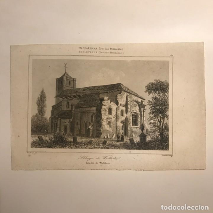 Arte: Inglaterra (Periodo Normando). Abadía de Waltham. Gaucherel. del. Lemaitre Direxit 12,8x20 cm - Foto 2 - 152251606
