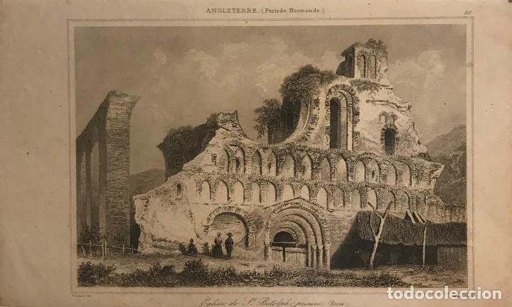 INGLATERRA (PERIODO NORMANDO). IGLESIA DE ST. BOTOLPH. GAUCHEREL. DEL. LEMAITRE DIREXIT 12,3X20 CM (Arte - Grabados - Modernos siglo XIX)