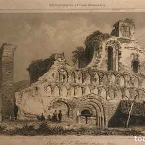 Inglaterra (Periodo Normando). Iglesia de St. Botolph. Gaucherel. del. Lemaitre Direxit 12,3x20 cm