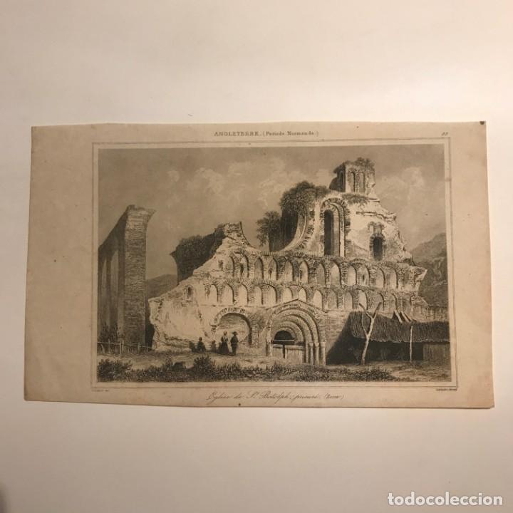 Arte: Inglaterra (Periodo Normando). Iglesia de St. Botolph. Gaucherel. del. Lemaitre Direxit 12,3x20 cm - Foto 2 - 152251982