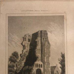 Inglaterra (Periodo Normando). Ruinas de un Monasterio en Canterbury. Lemaitre Direxit 12,3x20 cm