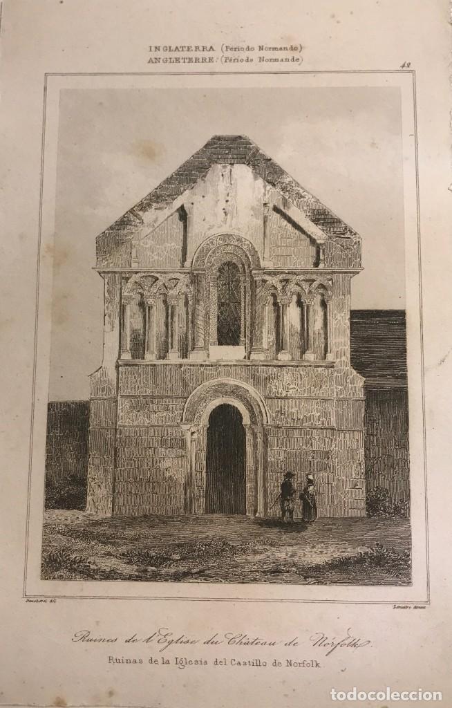 INGLATERRA (PERIODO NORMANDO). RUINAS DE LA IGLESIA DEL CASTILLO DE NORFOLK 12,7X19,4 CM (Arte - Grabados - Modernos siglo XIX)