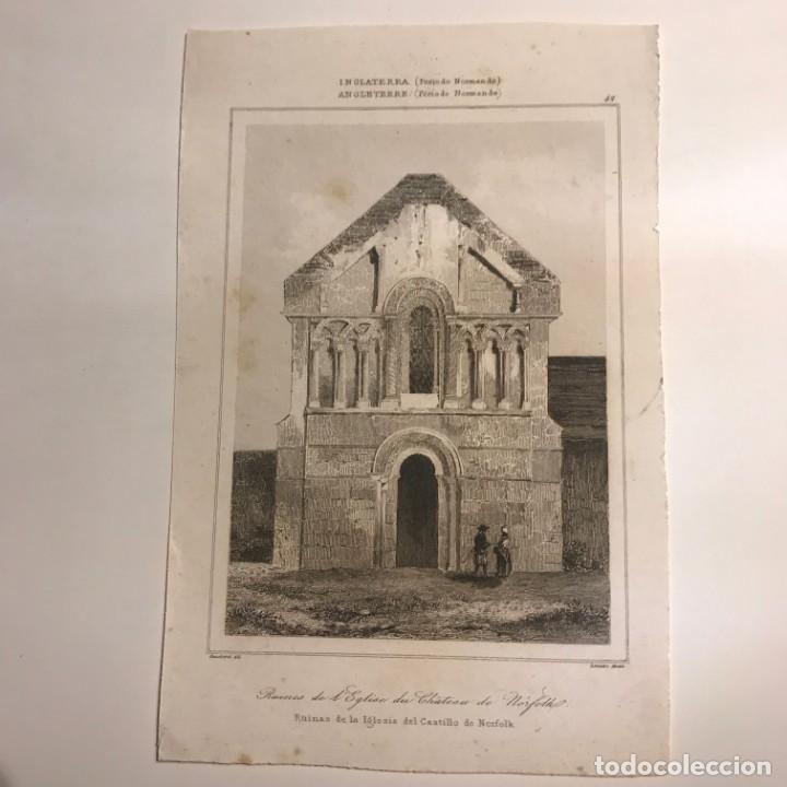 Arte: Inglaterra (Periodo Normando). Ruinas de la Iglesia del Castillo de Norfolk 12,7x19,4 cm - Foto 2 - 152253854