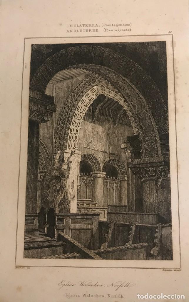 INGLATERRA (PERIODO NORMANDO). IGLESIA WALSOKEN, NORFOLK 14X9 CM (Arte - Grabados - Modernos siglo XIX)