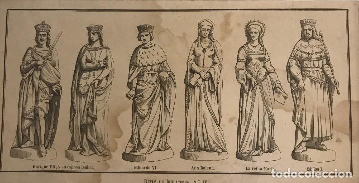 INGLATERRA. REYES DE INGLATERRA, Nº IV. 20,9X10,7 CM (Arte - Grabados - Modernos siglo XIX)