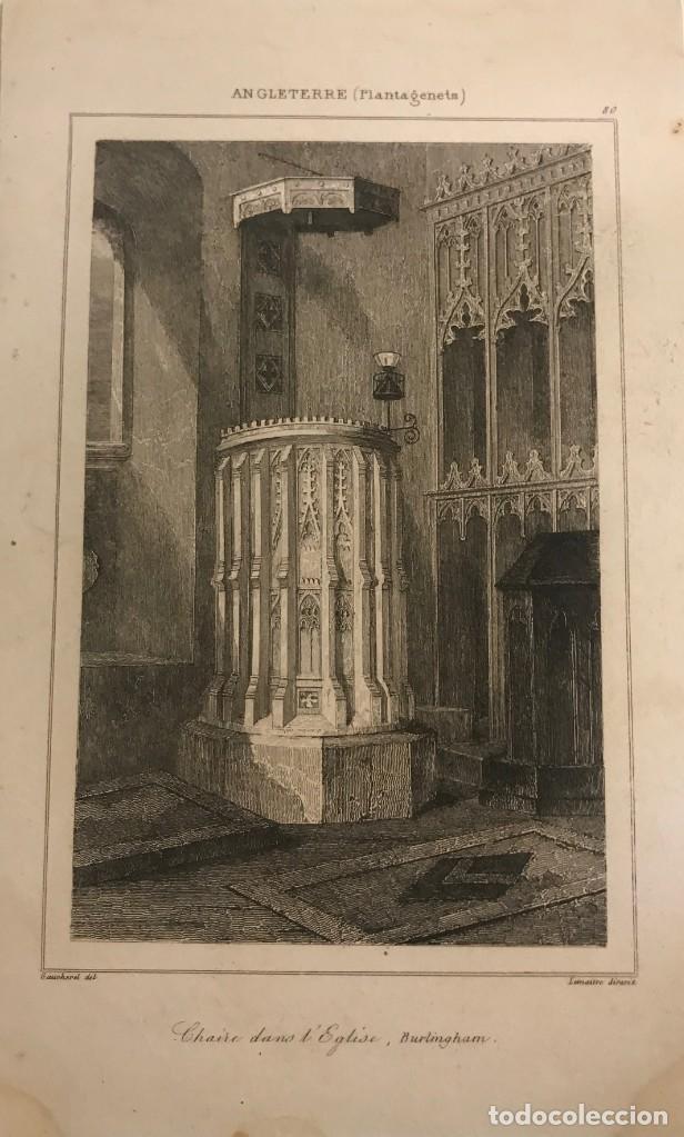 INGLATERRA (PLANTAGENETES). PÚLPITO EN LA IGLESIA. BURLINGHAM 12,8X19,5 CM (Arte - Grabados - Modernos siglo XIX)