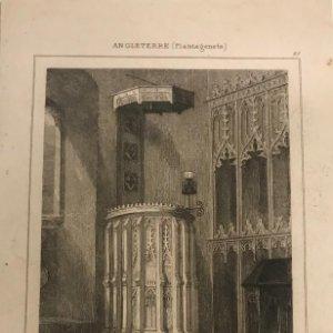 Inglaterra (Plantagenetes). Púlpito en la Iglesia. Burlingham 12,8x19,5 cm