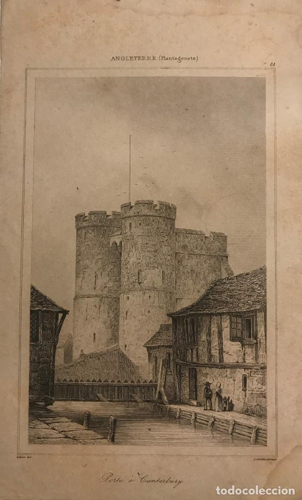 INGLATERRA. (PLANTAGENETES). PUERTA DE CANTERBURY. GIBERT DE. LEMAITRE DIREXIT 12,1X19,8 CM (Arte - Grabados - Modernos siglo XIX)