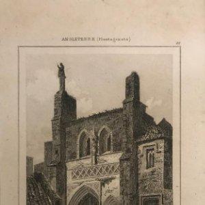 Inglaterra. (Plantagenetes). Palacio de l'Evèque en Norwich. Gaucherel. del. 12,2x19,6 cm
