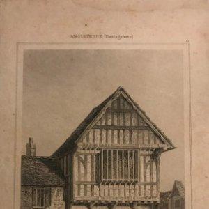 Inglaterra. (Plantagenetes). Casa de XV Sïecle à Leicester 9,2x19,8 cm