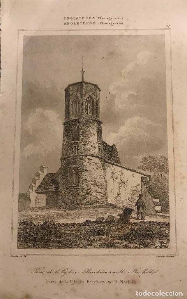 INGLATERRA. (PLANTAGENETES) TORRE DE LA IGLESIA BEECHAM-WELL. NORFOLK 13X19,7 CM (Arte - Grabados - Modernos siglo XIX)