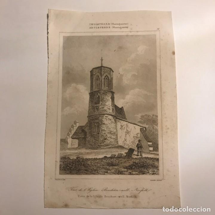 Arte: Inglaterra. (Plantagenetes) Torre de la Iglesia Beecham-well. Norfolk 13x19,7 cm - Foto 2 - 152291430