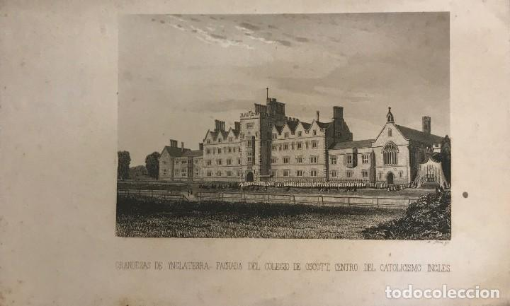 INGLATERRA. FACHADA DEL COLEGIO DE OSCOTT, CENTRO DEL CATOLICISMO INGLÉS 14X22,7 CM (Arte - Grabados - Modernos siglo XIX)