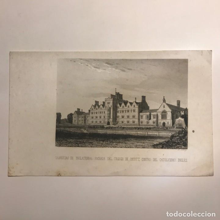 Arte: Inglaterra. Fachada del colegio de Oscott, centro del catolicismo inglés 14x22,7 cm - Foto 2 - 152292202