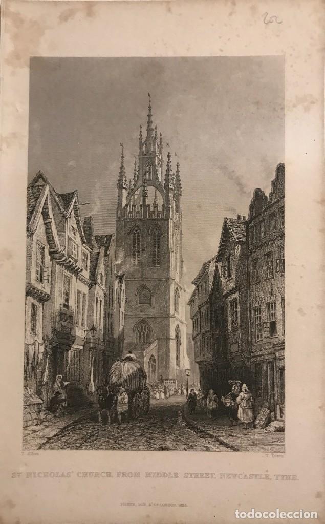 1835 INGLATERRA. ST. NICHOLAS' CHURCH, FROM MIDDLE STREET, NEWCASTLE, TYNE 12,4X19,7 CM (Arte - Grabados - Modernos siglo XIX)