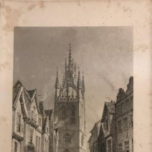 1835 Inglaterra. St. Nicholas' Church, from Middle Street, Newcastle, Tyne 12,4x19,7 cm