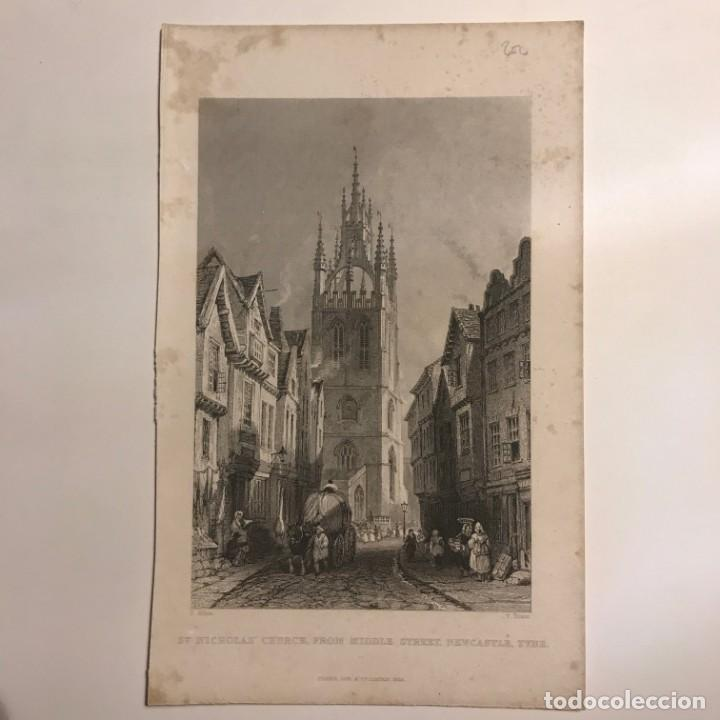 Arte: 1835 Inglaterra. St. Nicholas Church, from Middle Street, Newcastle, Tyne 12,4x19,7 cm - Foto 2 - 152292846