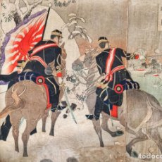Arte: MARAVILLOSO GRABADO JAPONÉS ORIGINAL TRÍPTICO DEL MAESTRO TOSHIAKI NAKAZAWA 1895, WEI-HAI-WEI. Lote 152294002