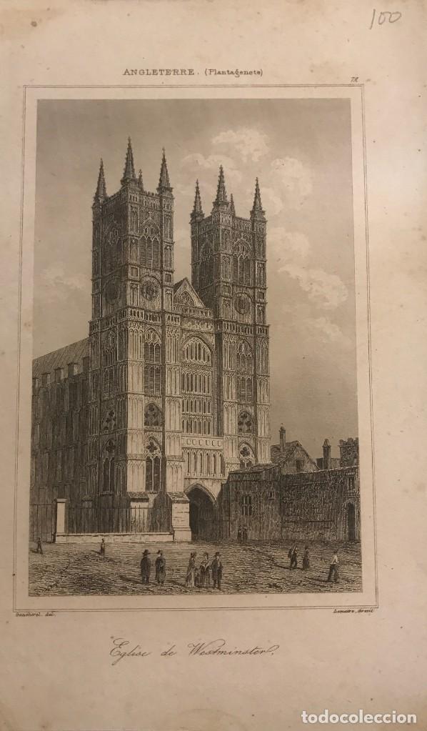 INGLATERRA. IGLESIA DE WESTMINSTER 12,2X20 CM (Arte - Grabados - Modernos siglo XIX)